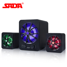 SADA D-207 Subwoofer Stereo Bass USB 2.1 Speaker Atmosphere LED Lighting 3D Surround Stereo PC Speakers FM Radio for Smartphone(China)