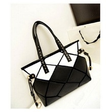 High quality new 2017 fashion sq Patchwork bag, Pu leather shoulder bags, ladies bags Large bags,Black and white leopard totes