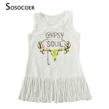 SOSOCOER Girls Tassel Dress 2017 Summer Cartoon Deer Baby Gril Dresses High Quality Fashion Letter Sleeveless Dress Kids Clothes(China)