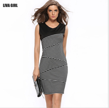 Ebay 2017 New Fashion Sleeveless Summer Lady Office Dress Sexy Plus Size Bodycon Women Stripe Casual Dresses Black White Vestido