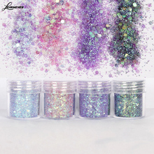 17 Colors 10ml/Box Nail Art Glitter Powder Colorful White Gold/Silver Pink  Champagne Tips Mixed Sequins Decoration M02739