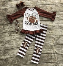 "Football clothes Fall suit baby girls brown boutique pants striped long sleeves""it's gameday"" with matching bow and necklace set"