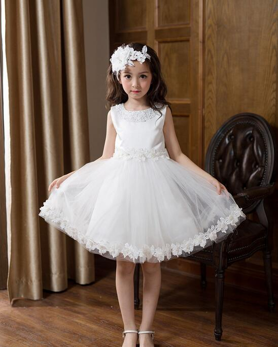 High Quality White First Communion Dresses For Girl Tulle Lace Infant Toddler Pageant Flower Girl Dress for Wedding and Birthday<br>