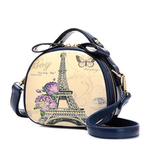 2016 vintage circle mini bag doodle trend one shoulder crossbody women's handbag Cartoon messenger bags