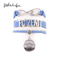 Little MingLou Infinity love FC zenit Bracelet soccer Charm leather wrap men bracelets & bangles for Women jewelry