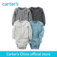 Carter's baby children kids clothing Boy Spring& Fall 4-Pack Long-Sleeve Original Bodysuits heather grey blue 126G875(China)