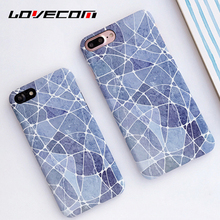LOVECOM Light Blue Irregular Lines Marble Pattern Hard Scrub Thin Anti Shock Mobile Phone Cases For iPhone7 7 Plus 6 6S Plus
