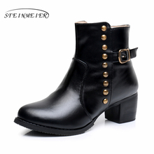 Cow Leather Ankle Boots Comfortable quality soft Shoes Brand Designer Handmade black us size 9.5 with fur black 2017 sping(China)