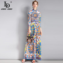 LD LINDA DELLA New 2018 Fashion Runway Vintage Maxi Dress Women's 3/4 Sleeve Classic Retro Art Floral Pattern Printed Long Dress(China)