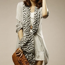 Hot Selling Fashion Trendy Long Sexy Zebra Printed Chiffon Scarf Women Girls Shawl Soft Smooth Elegant Comfortable Scarves