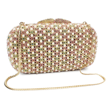Gift Box Packed Women Gold Hollow Out Crystal Evening Metal Clutches Small Hard Handbag Wedding Clutch(8666A-G)(China)