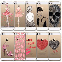 Best Selling Phone Case For Apple iPhone SE 5 5s Pink Beautiful Girls Cute Love Skull Mouth High Heel Soft Clear Coque Silicone