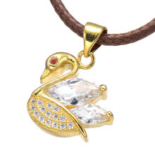 Classic Swan Necklaces Animal Big Clear Crystal Pendants Rhodium/Gold/Rose  Micro-Insert CZ Necklace