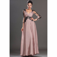 Custom Made Chiffon Bridesmaid Dresses 2017 V-Neck Long Sleeve Backless Floor Length Applique 2017 Wedding Party Gowns Dresses