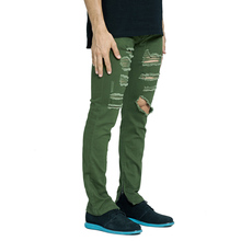 Fashion Men Stretch Ripped Destroyed Zipper Jeans Amry Green Skinny Jeans For Men V7902(China)