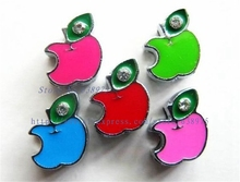 wholesale price 100pcs 8mm Apple with rhinestone Slide Charms Fit Pet Dog Cat Tag Collar Wristband/Bracelet