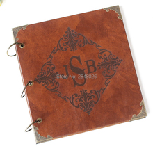 50 Pages Initials Personalized Monogrammed Engraved Leather Photo Album,Wedding guest book(China)
