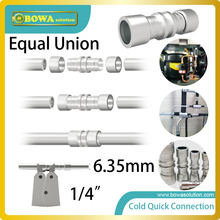 Diameter 6.35mm cold quick connection union installed in refrigerant tubes, including copper tubes and  aluminium alloy tubes