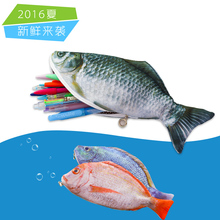 New Arrival Novelty Simulated Fish Pencil Bag Papelaria Pencil Case Stationery Material Escolor School Supplies(China)