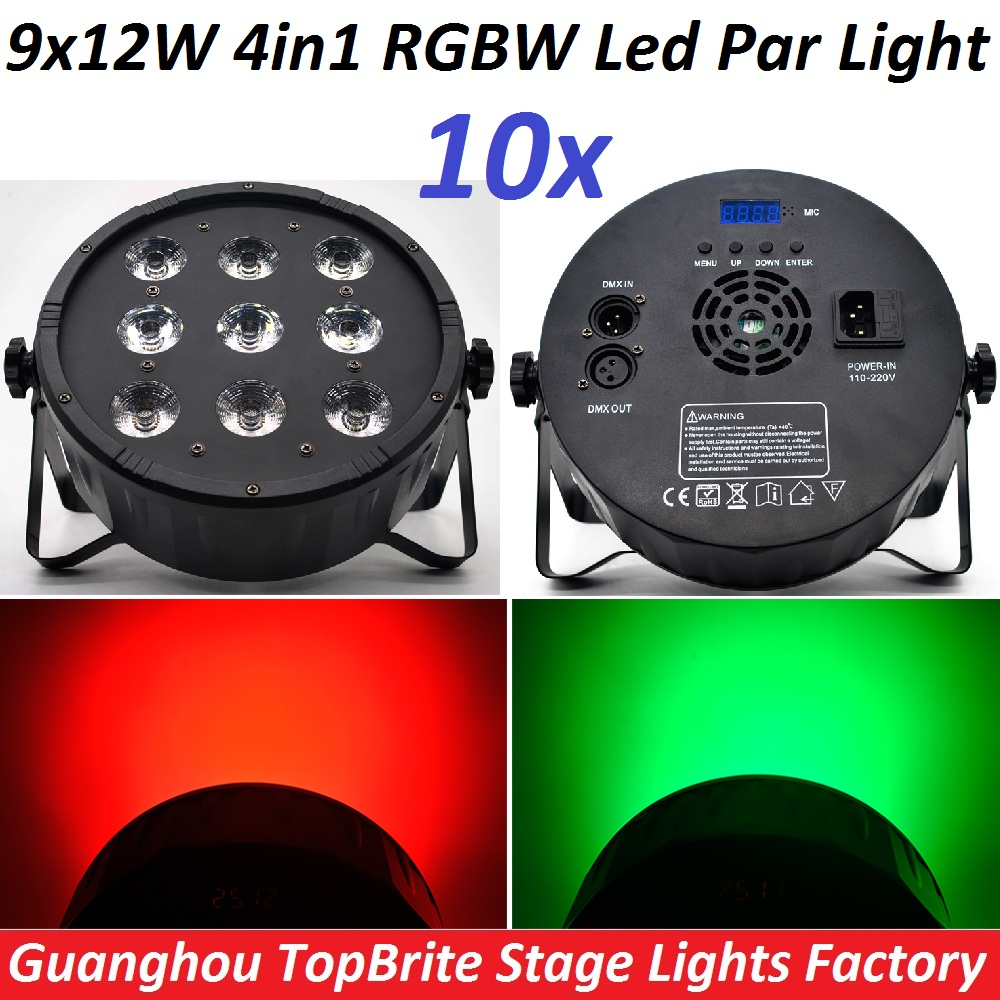 10xLot CREE LED Par 9x12W RGBW 4IN1 LED Luxury DMX 4/8 Channels Led Flat Par Can Professional DMX Disco DJ Stage Effect Lights<br>