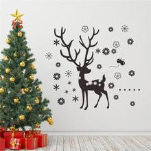 Christmas Reindeer Snowflakes Wall Decals Diy Home Decals Festival Wall Vinyl Art Black Festival Home Decor