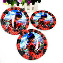 10PCS/LOT LADYBUG PLATES LADYBUG DISHES KIDS BIRTHDAY PARTY FAVORS HAPPY BIRTHDAY PARTY SUPPLIES LADYBUG PAPER PLATE(China)