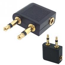 Gold-plated 3.5mm Stereo jack Airline Earphone Travel audio Converter Adapter for Airplane headphone adaptor Accessories