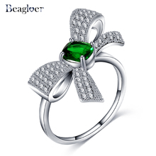 Beagloer Lovely Bowknot Rings Exquisite Tiny Paved Trendy Bow Tie Ring Fashion Jewelry Best Gift for Girls CRI1042