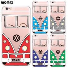 Funny Cartoon VW Mini Car Volkswagen Bus Case For iPhone 6 6S 6 Plus 6s Plus 5 5S SE 7 7 Plus Transparent Silicone Phone Cover(China)