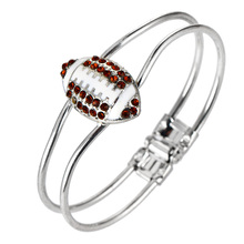 One Piece Fashion Jewelry Crystal Deco Rugby Hinge Sports Charm Rhodium plated Bangle b35