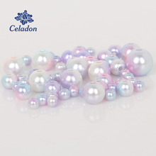 4-10mm Pearl Cabochon Round Mixed Pink Purple Light Blue Pearl Imitation ABS Beads Jewelry Findings DIY Phone Case High Quality(China)
