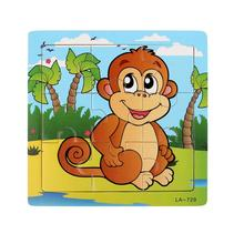 Wooden Lovely Monkey Toddler Jigsaw Puzzle Developmental Brain Puzzle Baby Kids Training Toy Lowest Price Jouet Bois(China)