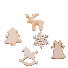 30pcs/lot 5 Designs 20mm Natural Wood Christmas Ornaments Reindeer Tree Snow Flakes Rocking Horse Christmas Home Decoration