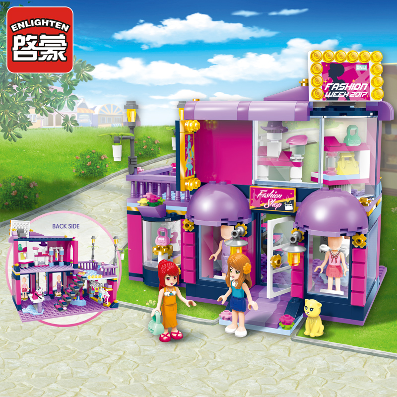 ENLIGHTEN Town Building Blocks Girls Educational Building Blocks City Friends Beauty Shop Blocks Playmobil Toys For Children <br>
