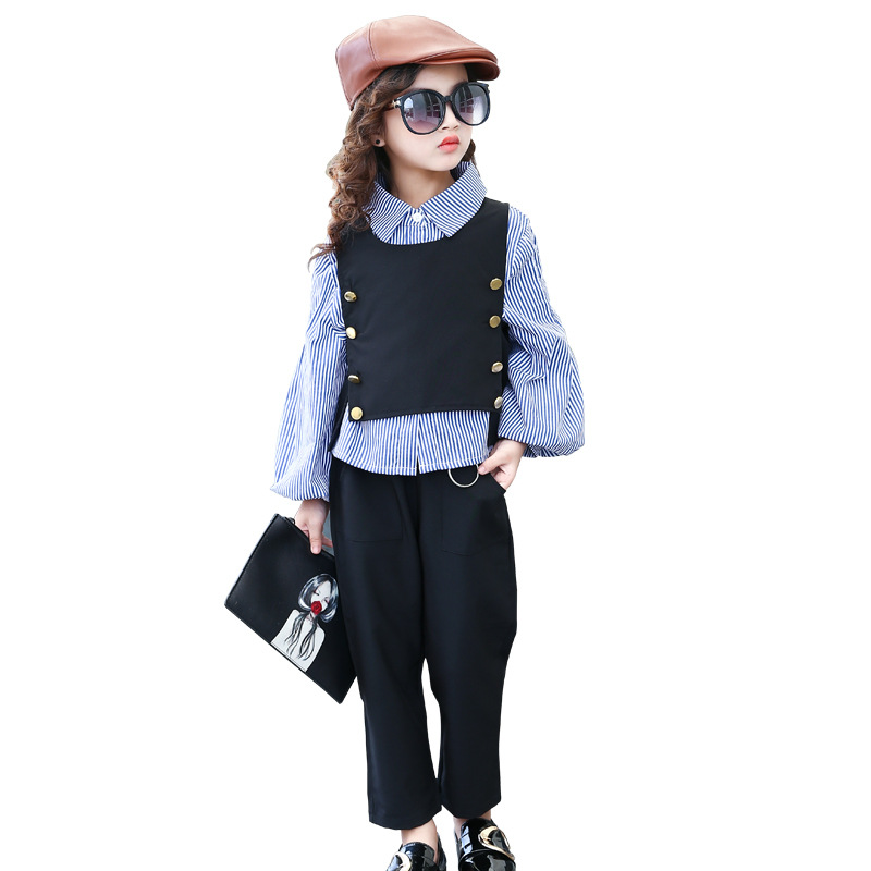 2017 Princess Girls Clothes Autumn England Vest +Pants + Shirt 3pcs Kids Girls Clothes Sets School Uniforms Suit Home Wear W132<br>