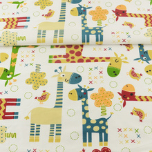 Orange Animals Designs 100% Cotton Fabric Quilting Patchwork Twill Cloth Tecido Decoration Telas Sewing Bedding Scrapbooking(China)