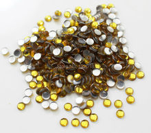 2880PCS 4mm round shape yellow color hotfix epoxy flatback pearl rhinestone perfect look