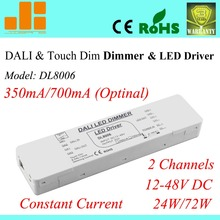 Free Shipping Dali LED Driver , Dimmable DALI driver 2 channels, DC12-48V output option 350mA/700mA  Model:DL8006