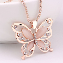 2017 New Fashion Necklace Women Fashion Womens Lady Rose Gold Opal Butterfly Pendant Necklace Sweater Chain Gift Charm Necklace(China)
