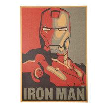1 PCS Retro Style Comic Iron Man Avatar Poster Decorative Painting Kraft Paper Posters Children Bedroom Adornment Wall Sticker
