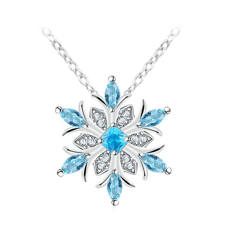 925 Sterlingsilber Glänzend Schneeflocke Anhänger Twilight Blau Kristall Klar Cz
