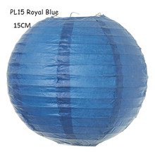 15cm(6inch) 10pcs/lot Royal Blue Chinese Wedding Decorations Rice Paper Ball Lamps Lanterns Hanging Parties Holidays Home Decor(China)