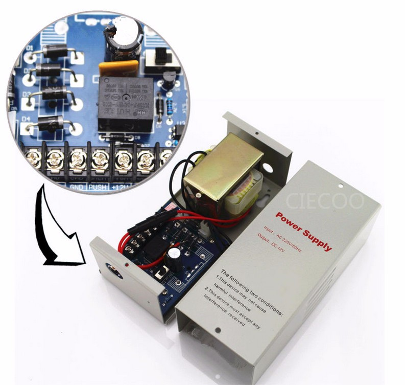 Standalone keypad door access power supply 110V 12V 5A power supply in CIECOO<br>