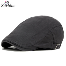 Surblue Men's Beret Cap Vintage outdoor Sports Cotton Winter Spring Duckbill Peaked Hat Adjustable Knitted Casquette Flat caps