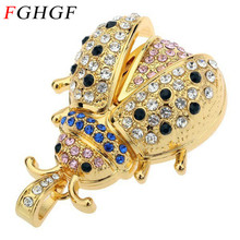 FGHGF Animal for Creative metal Crystal Beetle Model Usb 2.0 Flash Memory Stick pendrive 4GB 8GB 16GB 32G Car Key free Shipping(China)