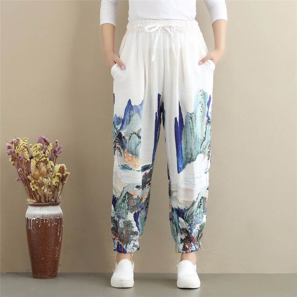 Chinese Style Floral Harem Pants Autumn Elastic Waist Bloomers Female Low Drop Crotch Boho trousers Travel Sweatpants G112906