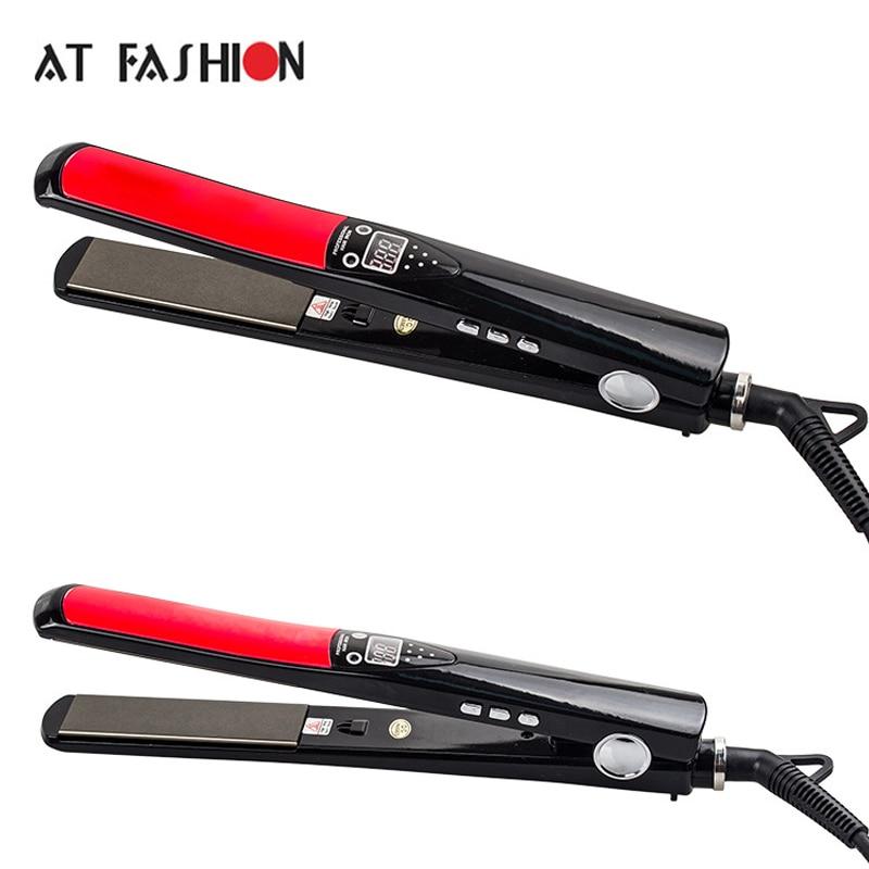 AT FASHION New Hot Hard Titanium Hair straightener Flat Irons Negative ions LCD Display Ceramic Hair Curler<br>