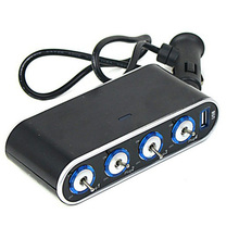4 Way in 1 Auto Car Cigarette Lighter Socket Splitter + 12V USB Charger + LED Lights Car Cigarette Lighters(China)