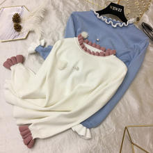 2018 New Arrival Women's All Match Wave Edge Collar Butterfly Sleeve Knit Shirt Sweater Lady Beading Ball Pullovers Tops(China)