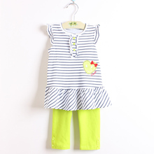 Fashion Summer Sets of girls clothing kids girls sets black striped top and cotton pants for 1-5 Years children clothes(China)